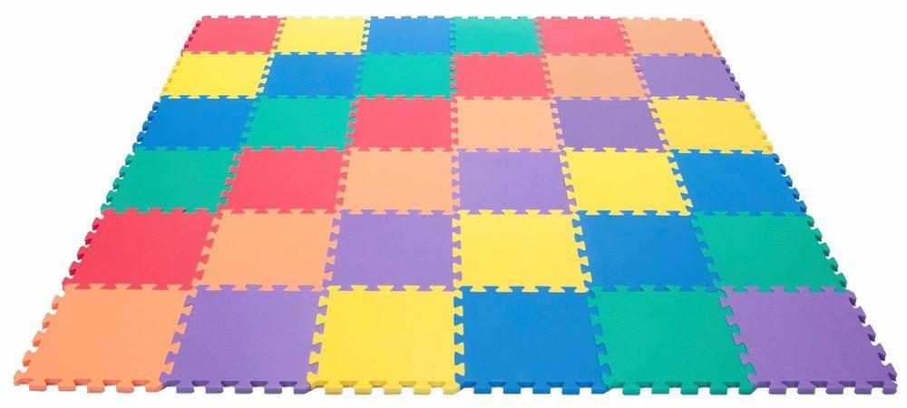 colored living playroom to room mats using rainbow wall foam